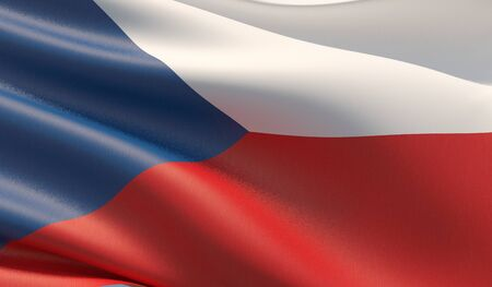 High resolution close-up flag of Czech Republic. 3D illustration. 版權商用圖片