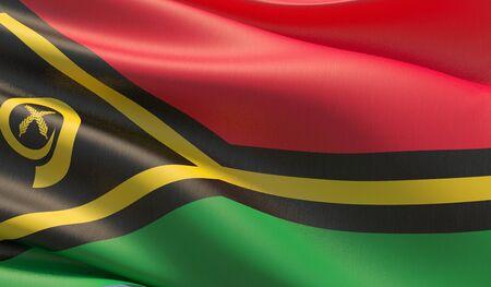 High resolution close-up flag of Vanuatu. 3D illustration. 版權商用圖片