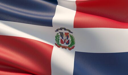 High resolution close-up flag of Dominican Republic. 3D illustration. Stockfoto