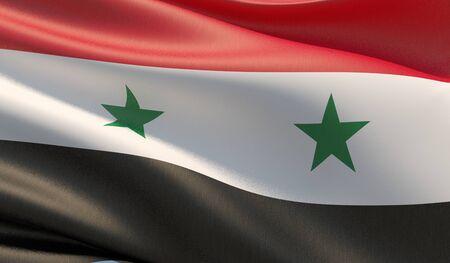 High resolution close-up flag of Syria. 3D illustration. 版權商用圖片