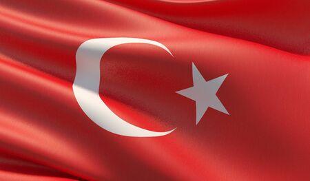 High resolution close-up flag of Turkey. 3D illustration.