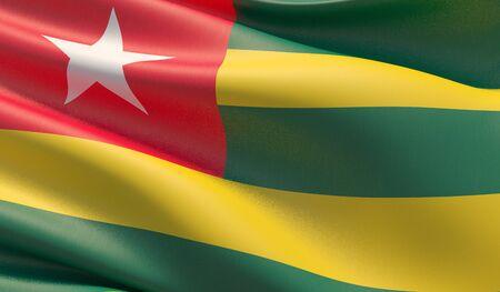 High resolution close-up flag of Togo. 3D illustration.