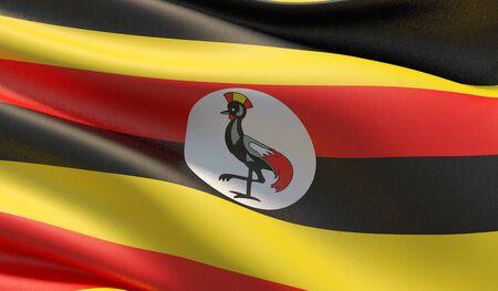 High resolution close-up flag of Uganda. 3D illustration. Stockfoto