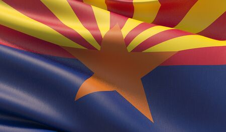 High resolution close-up Flag of Arizona - United States of America states flags collection. 3D illustration.