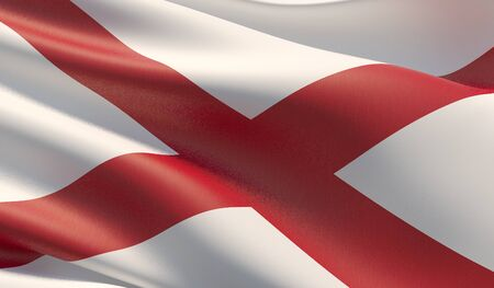 High resolution close-up Flag of Alabama - United States of America states flags collection. 3D illustration.