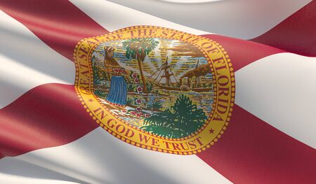 High resolution close-up Flag of Florida - United States of America states flags collection. 3D illustration. Фото со стока