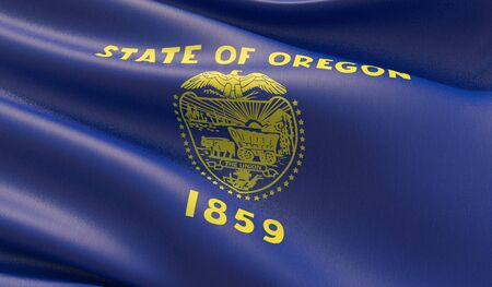 High resolution close-up Flag of Oregon - United States of America states flags collection. 3D illustration.
