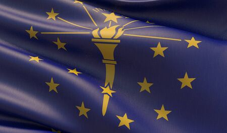High resolution close-up Flag of Indiana - United States of America states flags collection. 3D illustration. Фото со стока