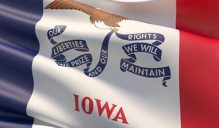 High resolution close-up Flag of Iowa - United States of America states flags collection. 3D illustration. Фото со стока