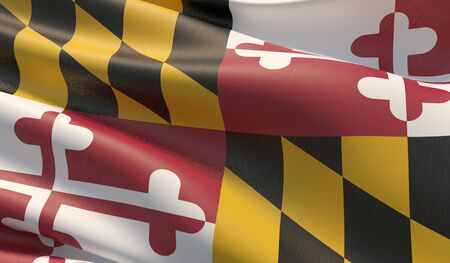 High resolution close-up Flag of Maryland - United States of America states flags collection. 3D illustration. Фото со стока