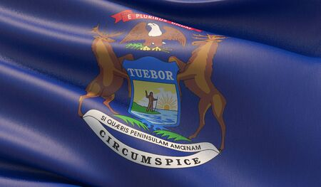 High resolution close-up Flag of Michigan - United States of America states flags collection. 3D illustration.