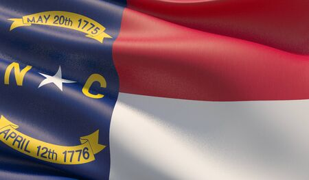 High resolution close-up Flag of North Carolina - United States of America states flags collection. 3D illustration.