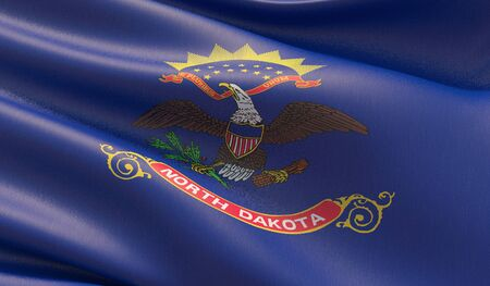High resolution close-up Flag of North Dakota - United States of America states flags collection. 3D illustration.