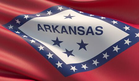 High resolution close-up Flag of Arkansas - United States of America states flags collection. 3D illustration.