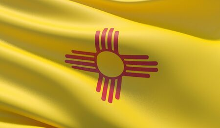 High resolution close-up Flag of New Mexico - United States of America states flags collection. 3D illustration.