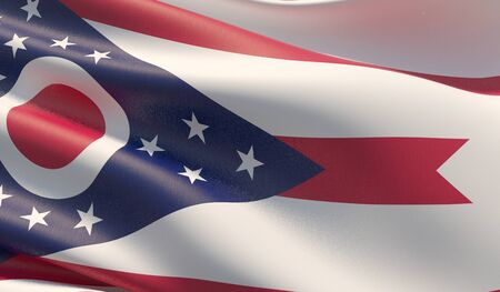 High resolution close-up Flag of Ohio - United States of America states flags collection. 3D illustration. Фото со стока