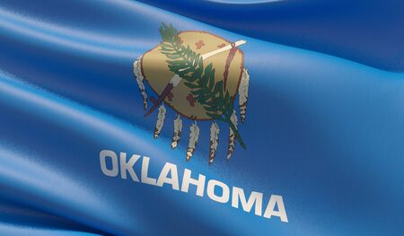 High resolution close-up Flag of Oklahoma - United States of America states flags collection. 3D illustration.