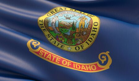 High resolution close-up Flag of Idaho - United States of America states flags collection. 3D illustration.
