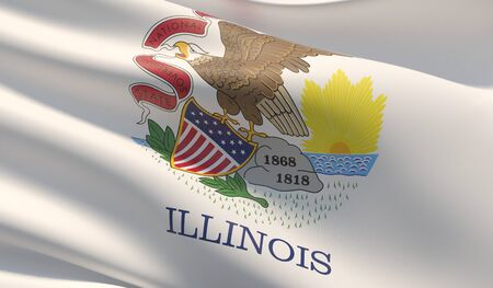 High resolution close-up Flag of Illinois - United States of America states flags collection. 3D illustration. Фото со стока