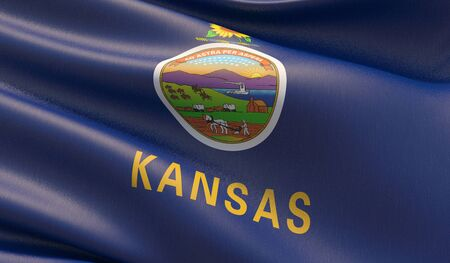 High resolution close-up Flag of Kansas - United States of America states flags collection. 3D illustration.