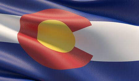 High resolution close-up Flag of Colorado - United States of America states flags collection. 3D illustration.