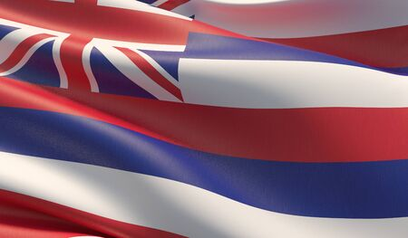 High resolution close-up Flag of Hawaii - United States of America states flags collection. 3D illustration. Фото со стока