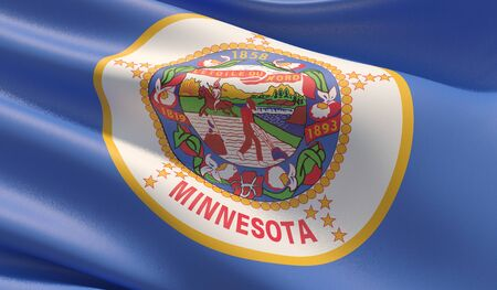 High resolution close-up Flag of Minnesota - United States of America states flags collection. 3D illustration.