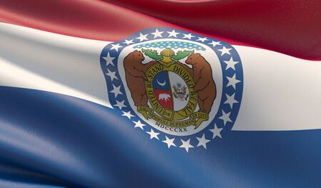 High resolution close-up Flag of Missouri - United States of America states flags collection. 3D illustration. Banco de Imagens