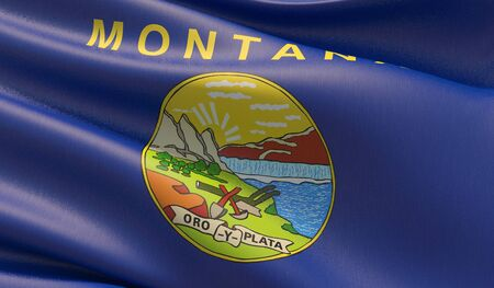 High resolution close-up Flag of Montana - United States of America states flags collection. 3D illustration.