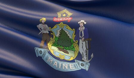 High resolution close-up Flag of Maine - United States of America states flags collection. 3D illustration.