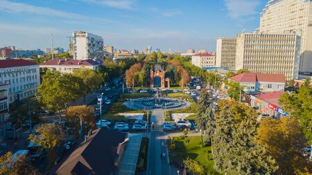 Krasnodar, Russia - August 2019: Monument to Catherine the Great, towering in Catherines Square of Krasnodar Redakční