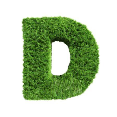 Grass Letter D on white background
