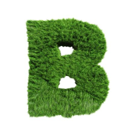 Grass Letter B on white background