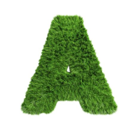 Grass Letter A on white background.