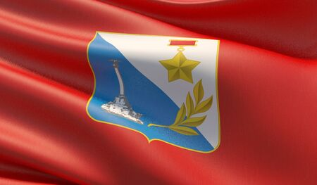 Flag of Sevastopol. High resolution close-up 3D illustration. Flags of the federal subjects of Russia. Stok Fotoğraf