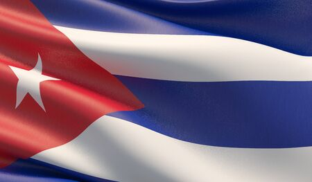 High resolution close-up flag of Cuba. 3D illustration. 写真素材