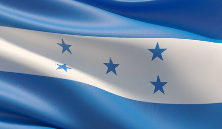 High resolution close-up flag of Honduras. 3D illustration.