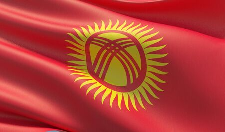 High resolution close-up flag of Kyrgyzstan. 3D illustration. Stock Photo