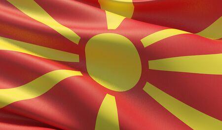 High resolution close-up flag of North Macedonia. 3D illustration.
