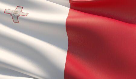 High resolution close-up flag of Malta. 3D illustration.