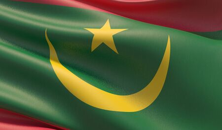 High resolution close-up flag of Mauritania. 3D illustration.