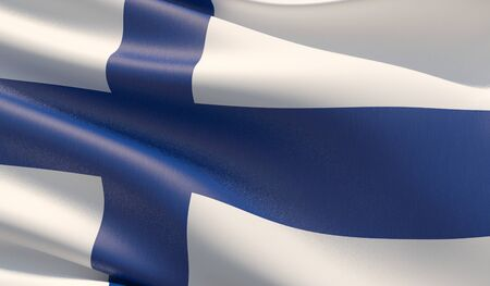 High resolution close-up flag of Finland. 3D illustration.