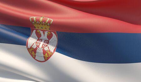 High resolution close-up flag of Serbia. 3D illustration.