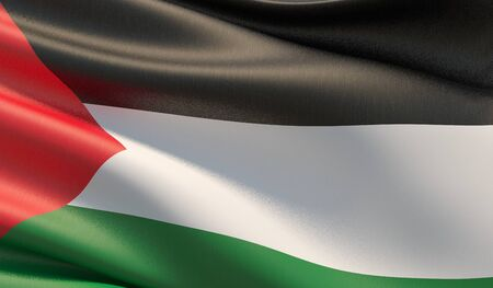 High resolution close-up flag of Palestine. 3D illustration.