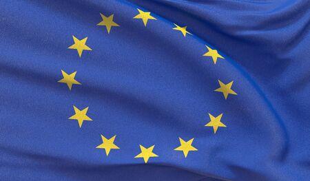 Official EU flag. European Union Flag. 3D illustration.