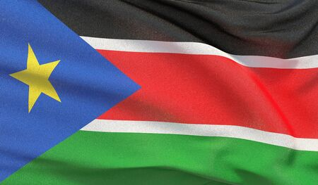 Waving national flag of South Sudan. Waved highly detailed close-up 3D render. Reklamní fotografie