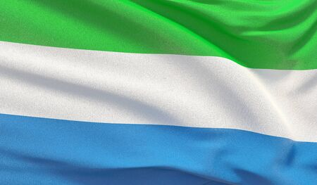 Waving national flag of Sierra Leone. Waved highly detailed close-up 3D render.