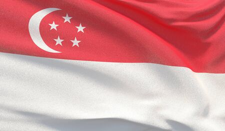 Background with flag of Singapore