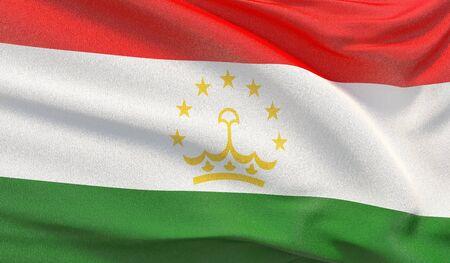 Waving national flag of Tajikistan. Waved highly detailed close-up 3D render. Reklamní fotografie