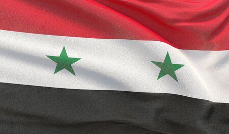 Waving national flag of Syria. Waved highly detailed close-up 3D render.